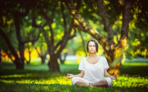legs crossed, meditation, girl outdoors, white shirt, closed eyes, trees