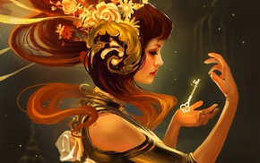 girl, gold, headdress, fantasy art, keys