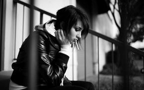 girl, monochrome, smoking, sitting