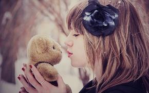 snow, teddy bears, girl, kissing, flower in hair