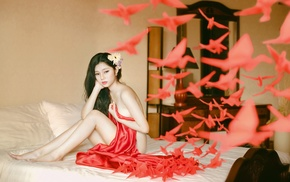 flower in hair, model, barefoot, girl, bed, Asian