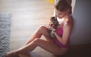 model, girl, animals, sitting, cat