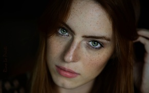 girl, green eyes, looking at viewer, redhead, freckles