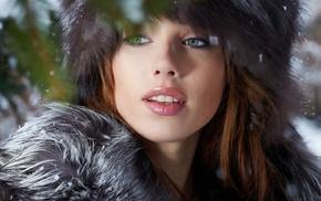 looking away, girl, green eyes, fluffy hat