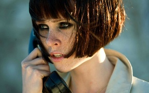 looking away, Transporter 3, face, girl, telephone, freckles