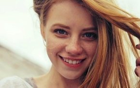 blue eyes, redhead, face, girl, smiling, freckles