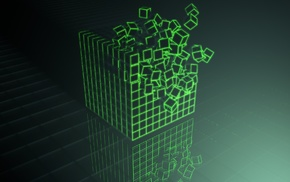 green, Photoshop, Cinema 4D, cube
