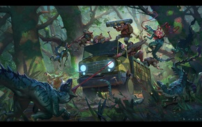 car, hunter, forest, artwork, wood, science fiction