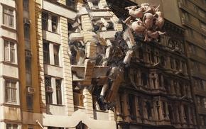 explosion, science fiction, artwork, destruction, surreal, people