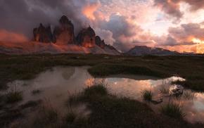 nature, pond, sunset, grass, clouds, sunlight