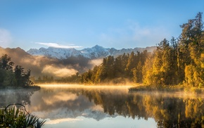 snowy peak, nature, mist, New Zealand, sunlight, water
