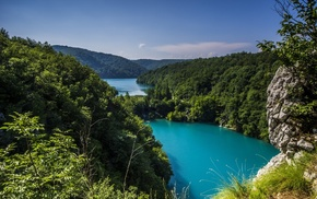 forest, shrubs, nature, turquoise, river, hills
