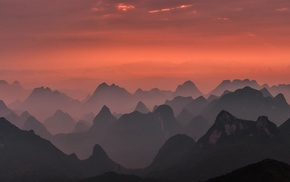 Guilin, sky, national park, mountains, pink, nature