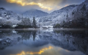 reflection, lake, hills, nature, winter, sunset
