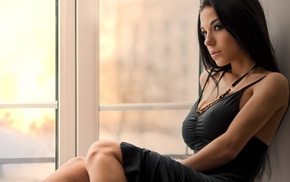 sitting, black clothing, Marina Shimkovich, dress, brunette, black dress