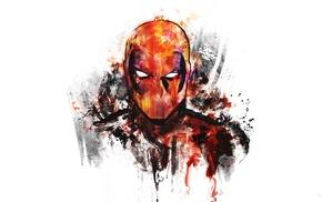 digital art, superhero, white background, artwork, Deadpool