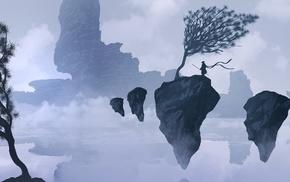 mist, rock, mountains, silhouette, fantasy art, samurai