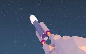 rocket, low poly, space