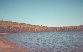 lake, beach, forest, landscape