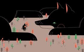 bow, digital art, animals, simple, dog, archer