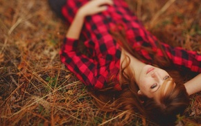 lying on back, girl, looking up, redhead, plaid, plaid shirt