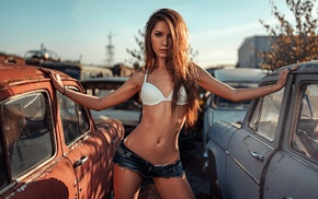 looking at viewer, straight hair, Ksenia Kokoreva, long hair, brown eyes, girl with cars