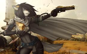 furry, Destiny video game, hunters, Anthro, fantasy armor, fantasy weapon