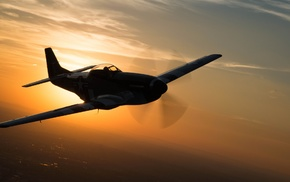 sunset, military aircraft, North American P, 51 Mustang, aircraft, silhouette