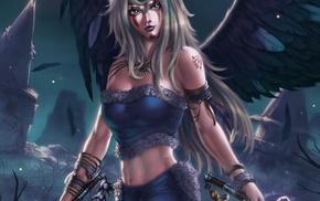 body paint, hammer, angel, tribal, fur, warrior