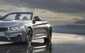 BMW M4, vehicle, Convertible, BMW M4 Cabrio, dual monitors, reflection