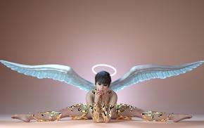 fantasy art, angel, Halo