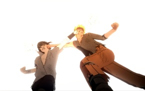 fighting, white background, Uchiha Sasuke, Naruto Shippuuden, anime boys, Uzumaki Naruto
