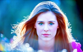 girl, green eyes, looking at viewer
