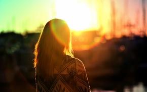 flares, sunlight, girl, back, sweater, blurred