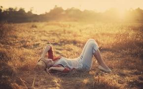 sunlight, lying down, girl