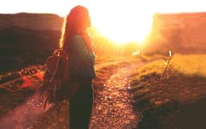 dirt road, path, girl, girl outdoors, Golden Hour, sunlight