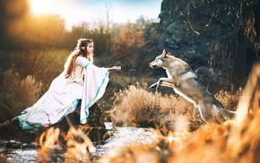 elves, girl, stream, cosplay, water, dog
