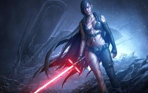 Sith, warrior, boobs, legs, lightsaber, fantasy art