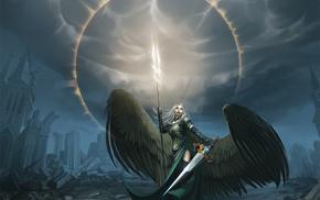 artwork, angel, fantasy art, Magic The Gathering