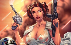 Princess Leia, blaster, big boobs, science fiction, R2, D2