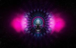 grunge, digital art, symmetry, skull, artwork