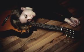 on the floor, closed eyes, girl, model, guitar