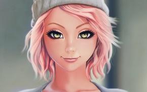 artwork, blonde, girl, green eyes
