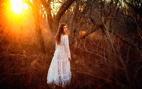sunlight, forest, girl, Golden Hour, looking back, model