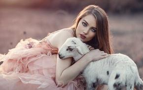girl, model, lamb, animals