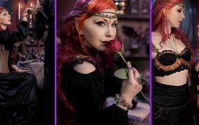 redhead, fantasy art, collage, rose, girl