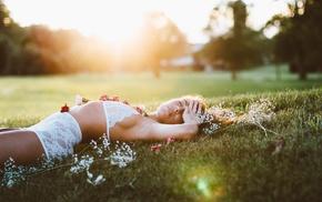flowers, girl outdoors, green, sunlight, model, girl