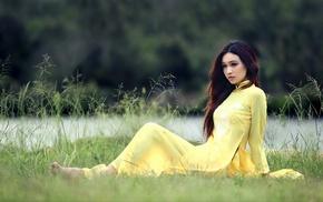 model, girl outdoors, o di, vietnamese, girl, Asian