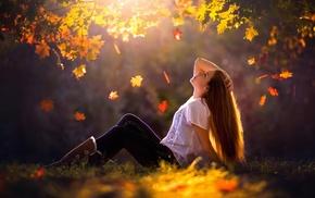 model, girl, leaves, sunlight, girl outdoors