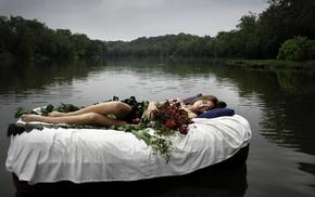 trees, river, girl, barefoot, lying down, sleeping